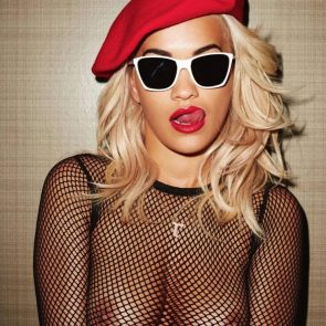 Rita Ora nude boobs in mesh top