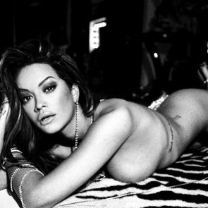 Rita Ora nude black and white pic
