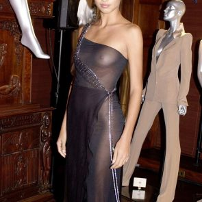Adriana Lima naked tits in dress