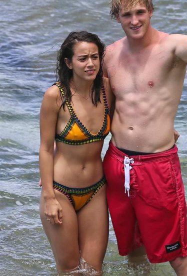 Chloe Bennett in bikini with logan paul