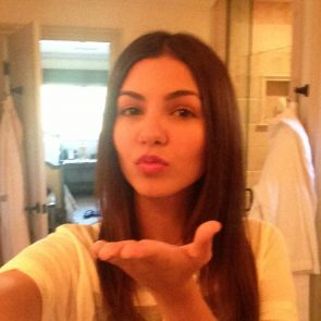 Victoria Justice sending kisses to her fans