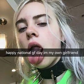 Billie Eilish nude tongue out