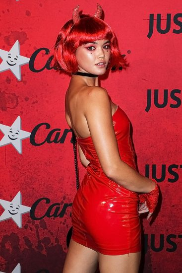 Paris Berelc sexy red dress