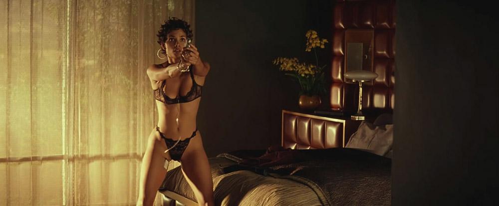 Halle Berry black lingerie