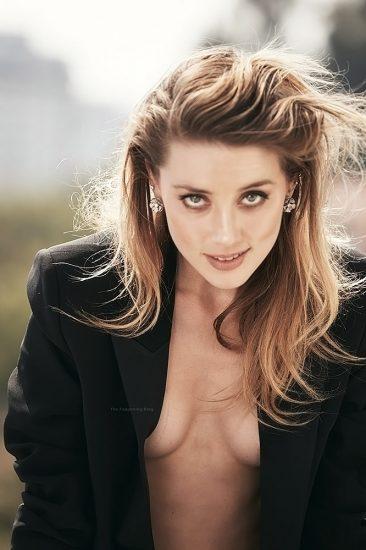 Amber Heard topless in jacket