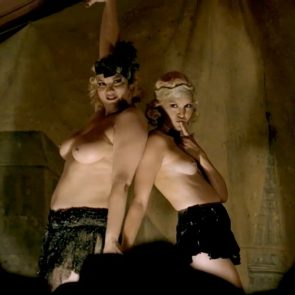 Carla Gallo and Cynthia Ettinger naked striptease in Carnivale