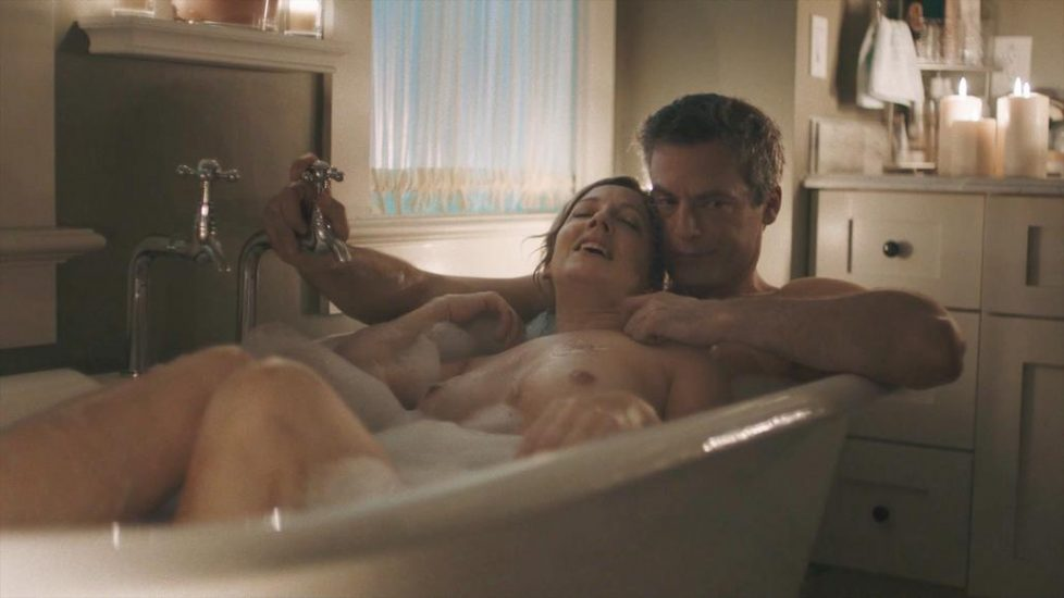 Judy Greer naked in bath from Kidding - S01E05