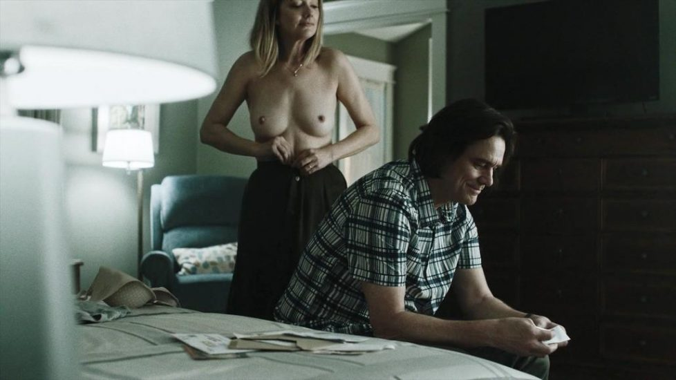 Judy Greer topless in Kidding - S01E08