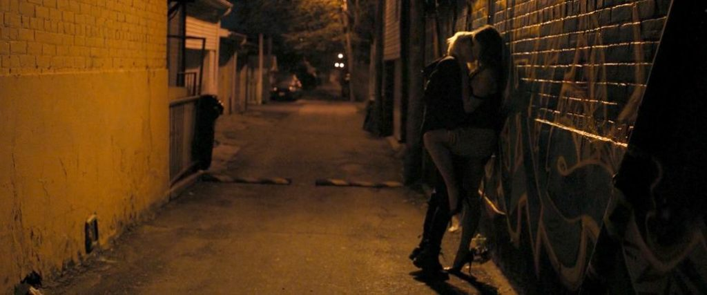 Natalie Krill & Erika Linder clothed sex scene in public from Below Her Mouth