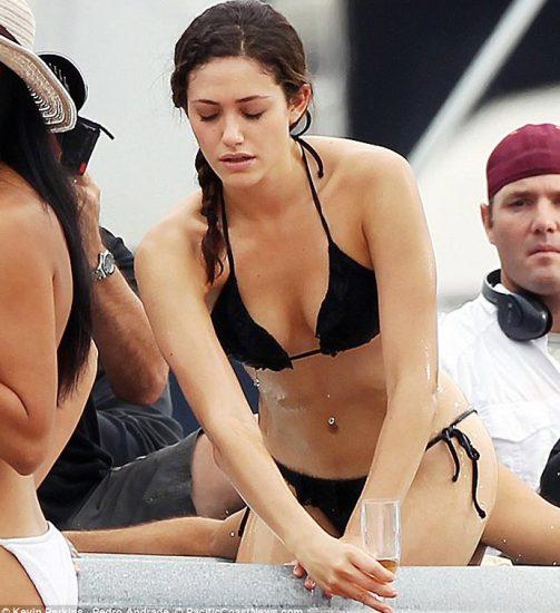 Emmy Rossum nudesexyblack bikini