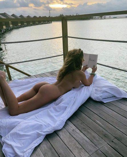 Georgia Harrison nude sunbathing