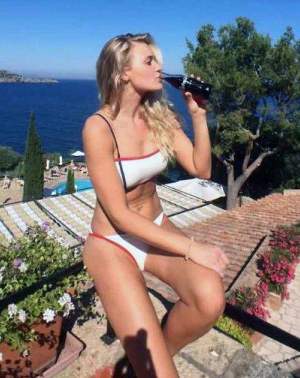AJ Michalka in abikini drinking beer