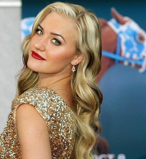 AJ Michalka in a golden dress