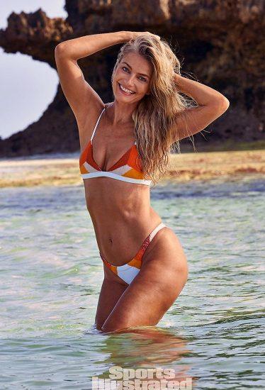 Paulina Porizkova sexy in orange bikini