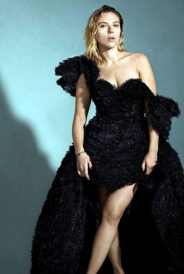 Scarlett Johansson sexy in a black dress